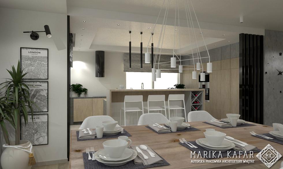 Marika Kafar Autorska Pracownia Architektury Wnętrz  Projekt salonu z kuchnią