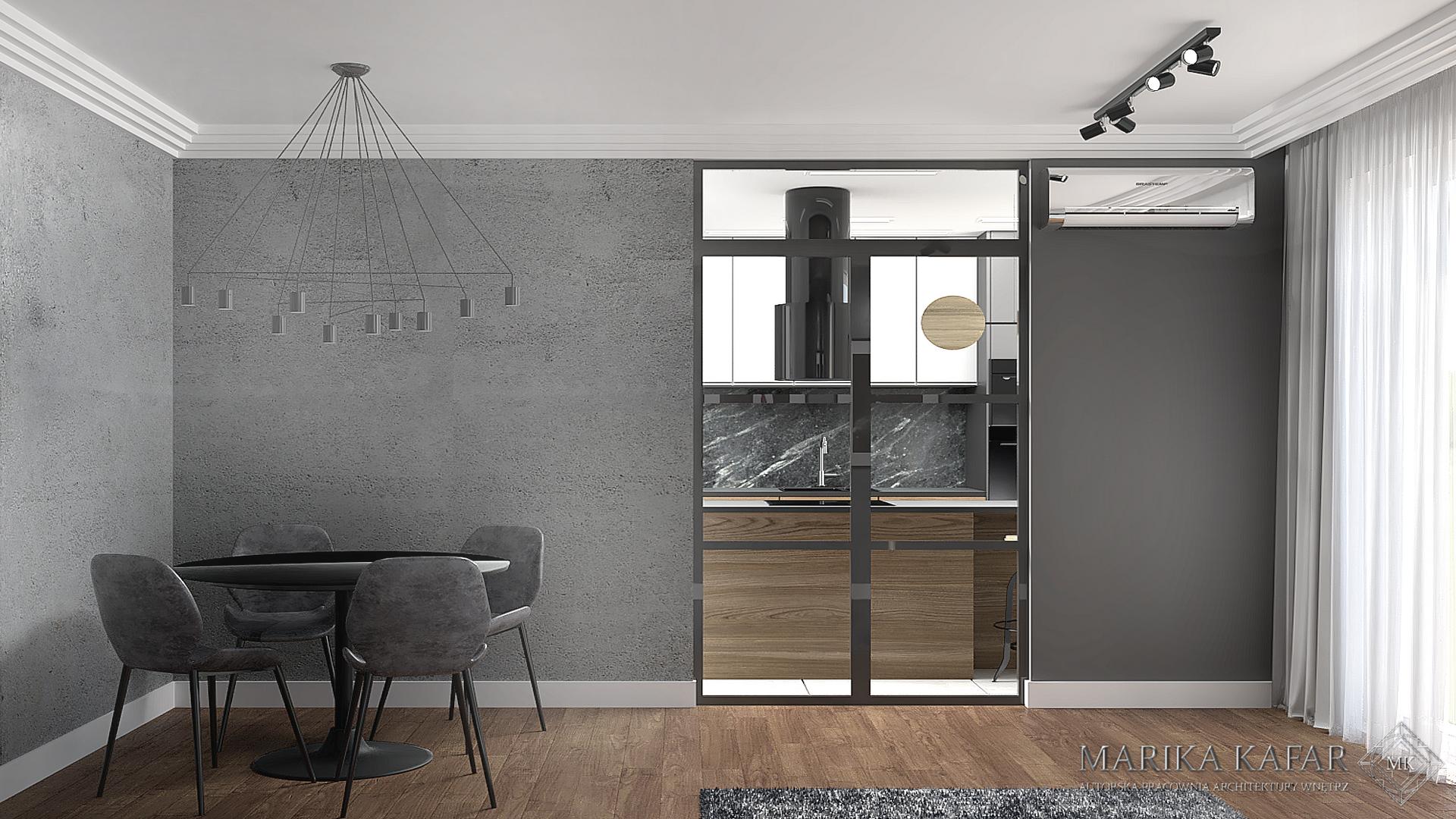 MARIKA KAFAR. Industrialne drzwi przesuwne jako oddzielenie salonu od kuchni.