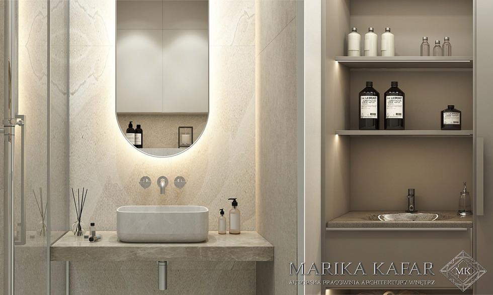 Marika Kafar. Projekt eleganckiej lazienki z owalnym, podświetlonym ledami lustrem.