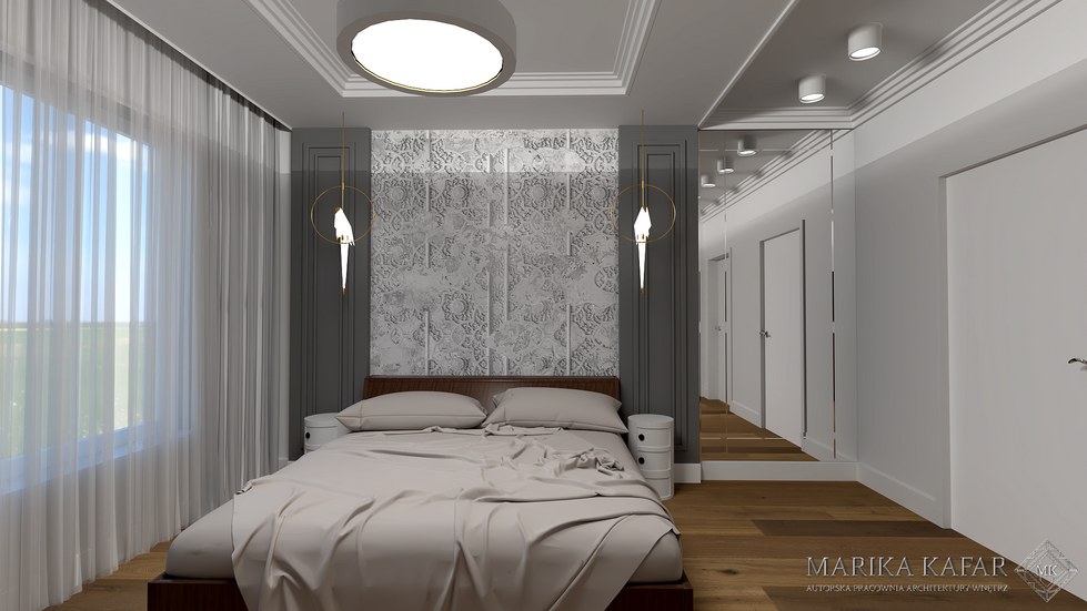 Marika Kafar. Projekt sypialni w stonowanej kolorystyce, z przewagą szarości.