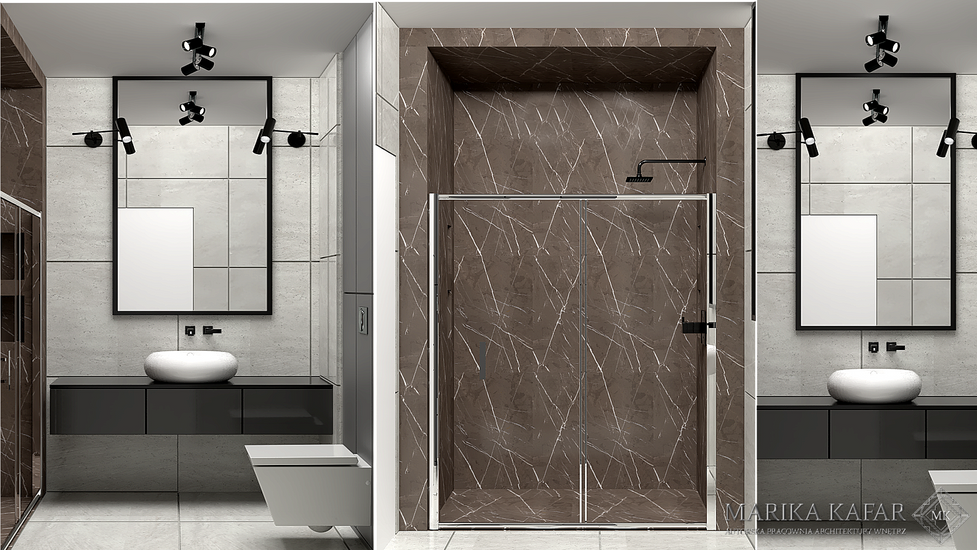 Marika Kafar.Projekt łazienki wykonany w ciemnej gamie kolorów.