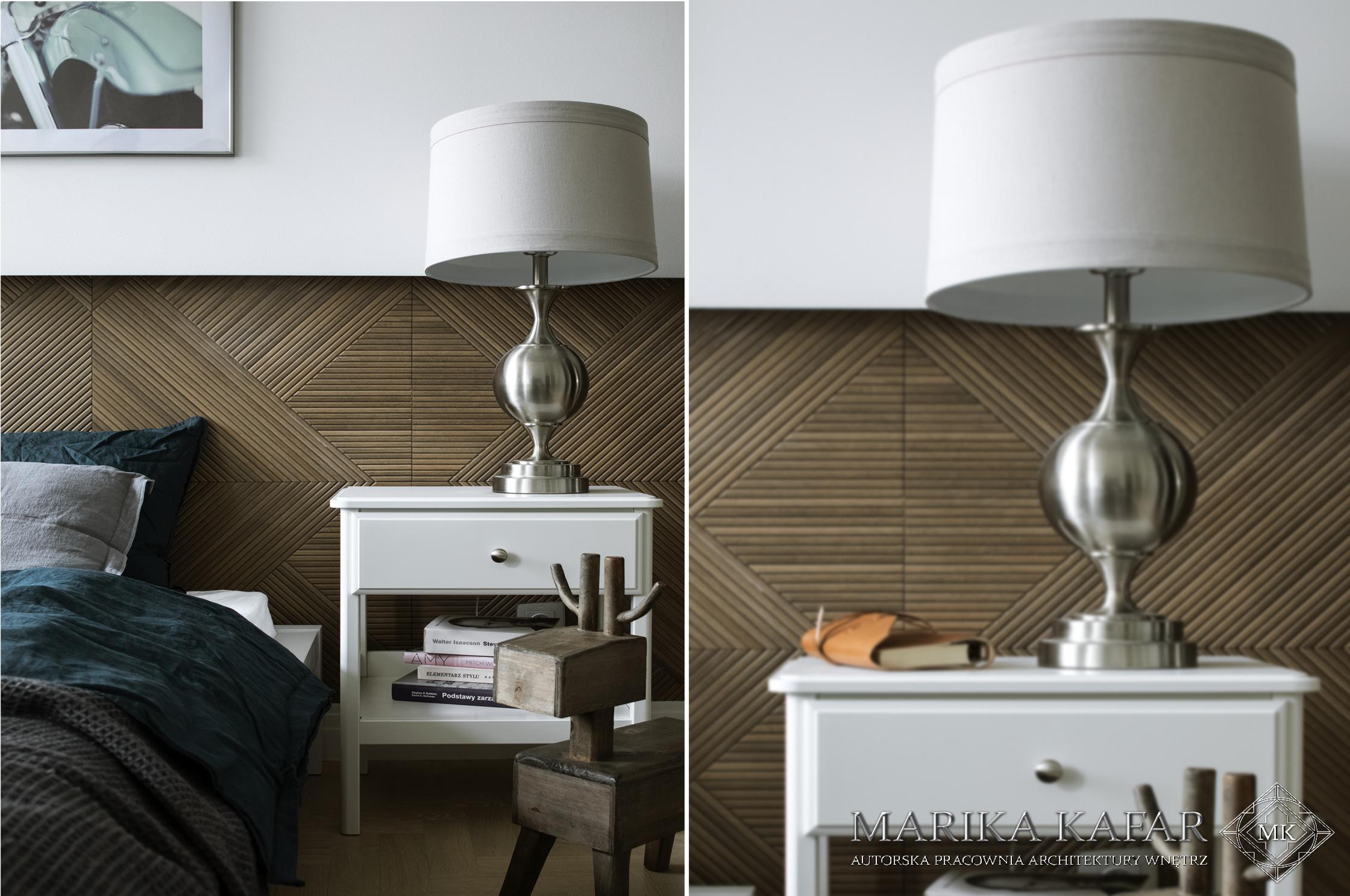 Marika Kafar. Sypialnia z drewnianymi panelami na ścianie.