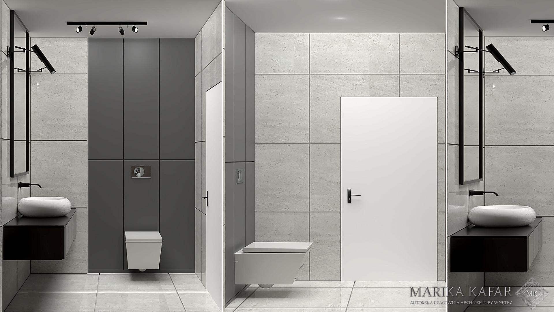 Marika Kafar. Stonowane kolory nadające spokojny klimat łazience.