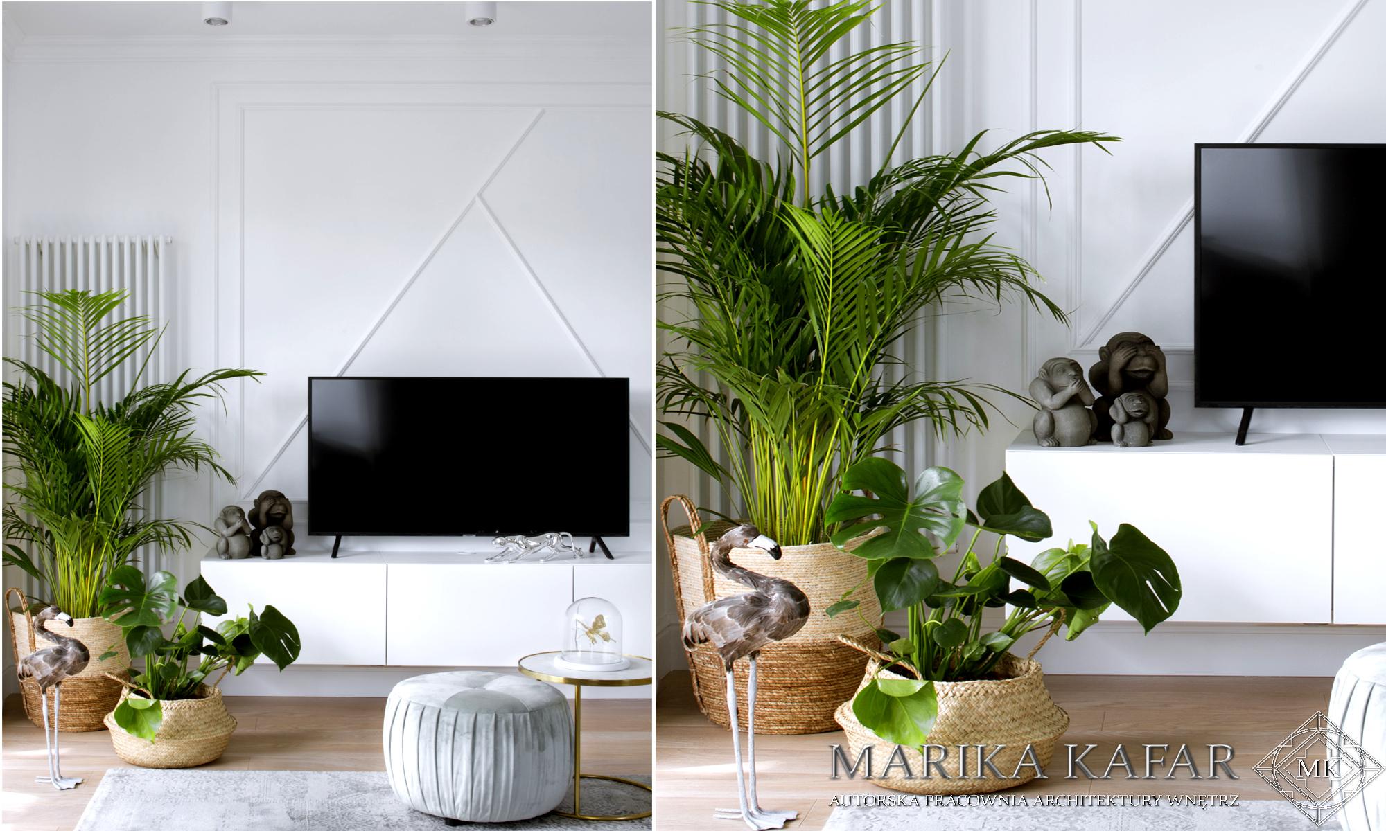 Marika Kafar. Zielone kwiaty ożywiające białe wnętrze.
