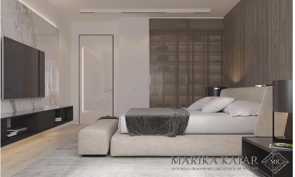 Marika Kafar. Projekt sypialni z dominacją beżów i szarości.