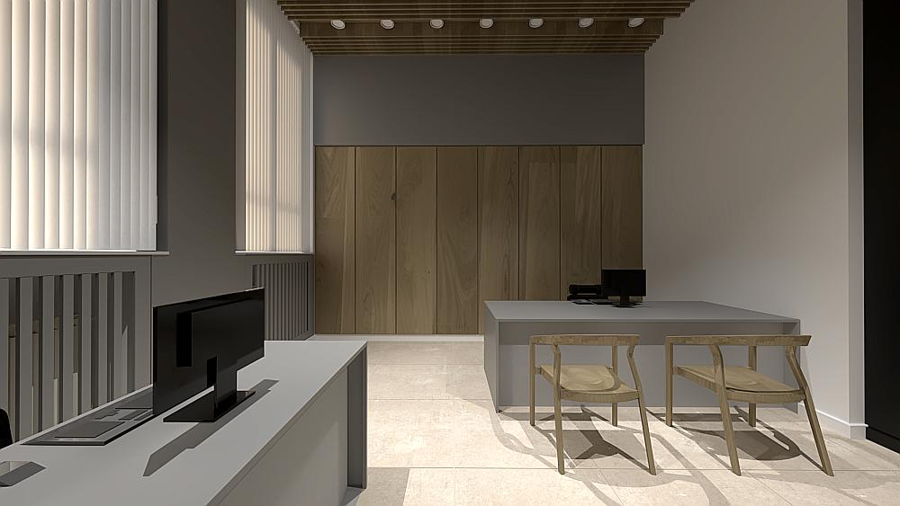 Marika Kafar. Wnętrze biurowe z drewnianymi elementami ocieplającymi wnętrze.
