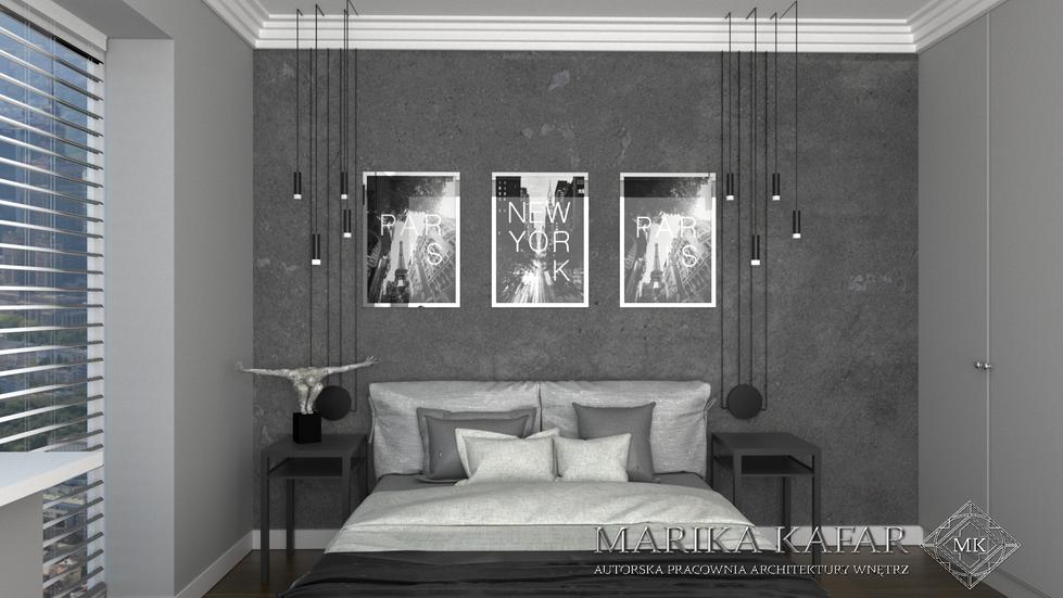 Marika Kafar. Industrialna sypialnia z akcentami glamour.