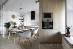 Marika Kafar. Kuchnia połączona z jadalnią, gdzie dominuje drewno.