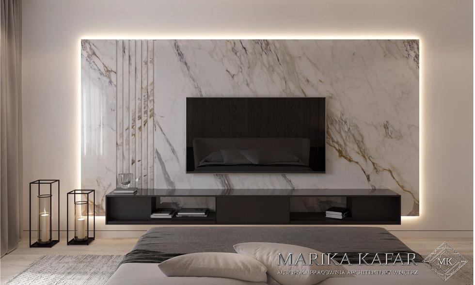Marika Kafar. Salon z płytkami na ścianie.