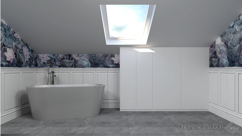 Marika Kafar. Projekt łazienki z wanną wolnostojącą.