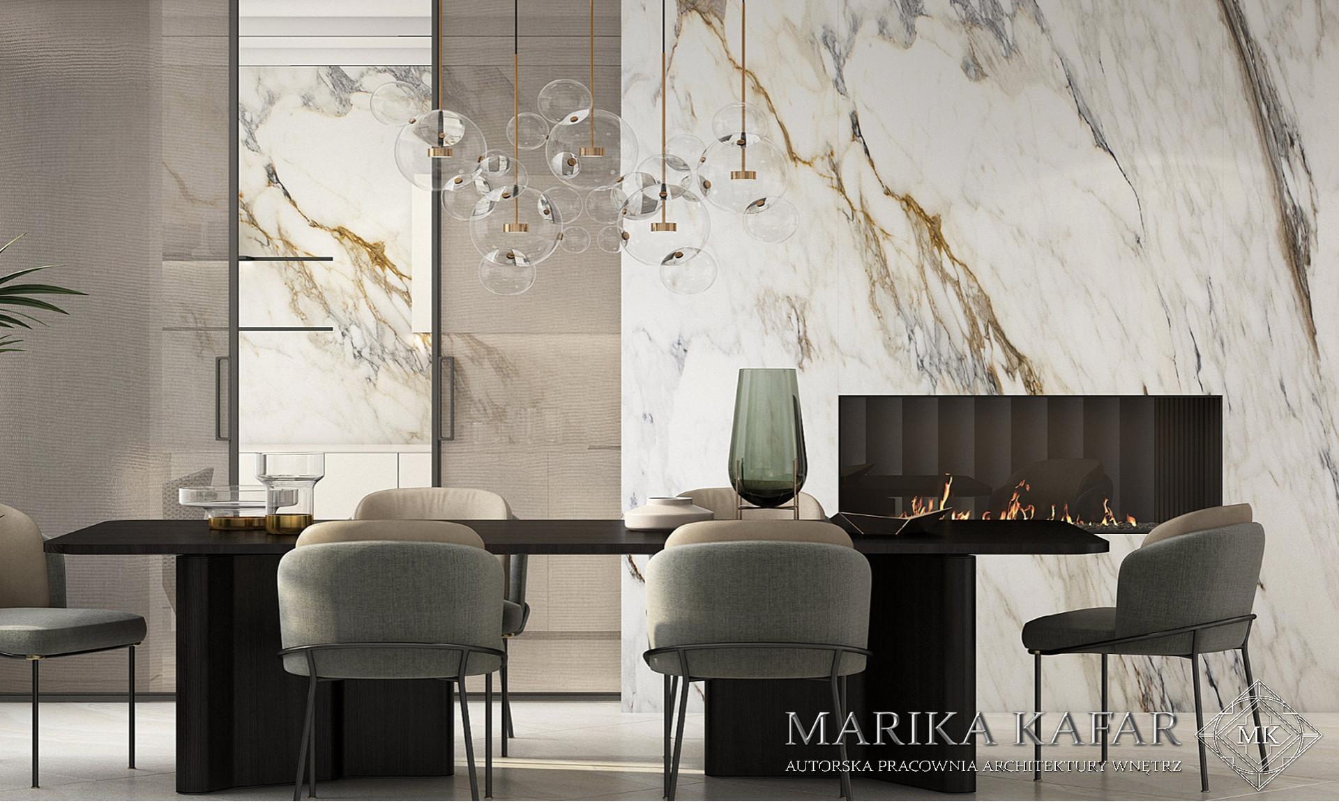 Marika Kafar. Nowoczesna jadalnia w luksusowym wydaniu.