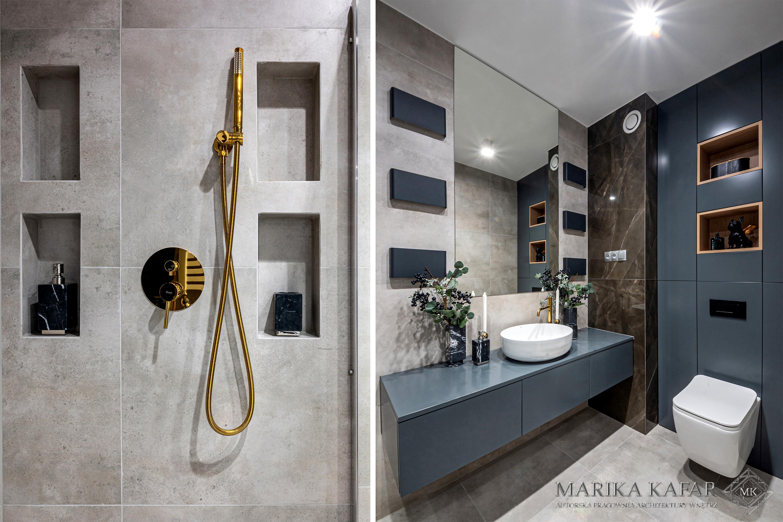 Marika Kafar. Betonowa łazienka z elementami złota.