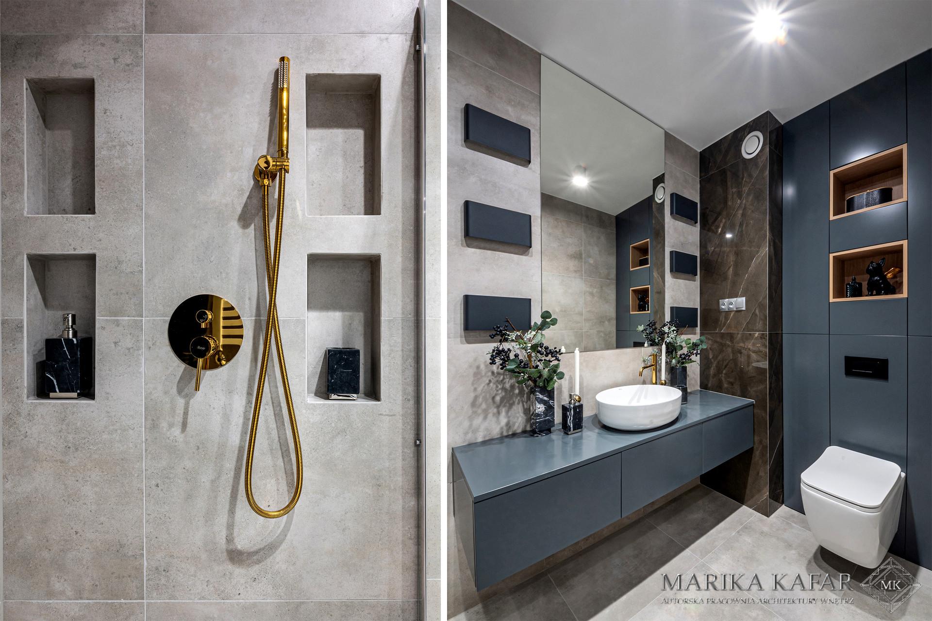 Marik Kafar. Betonowa łazienka z elementami złota.