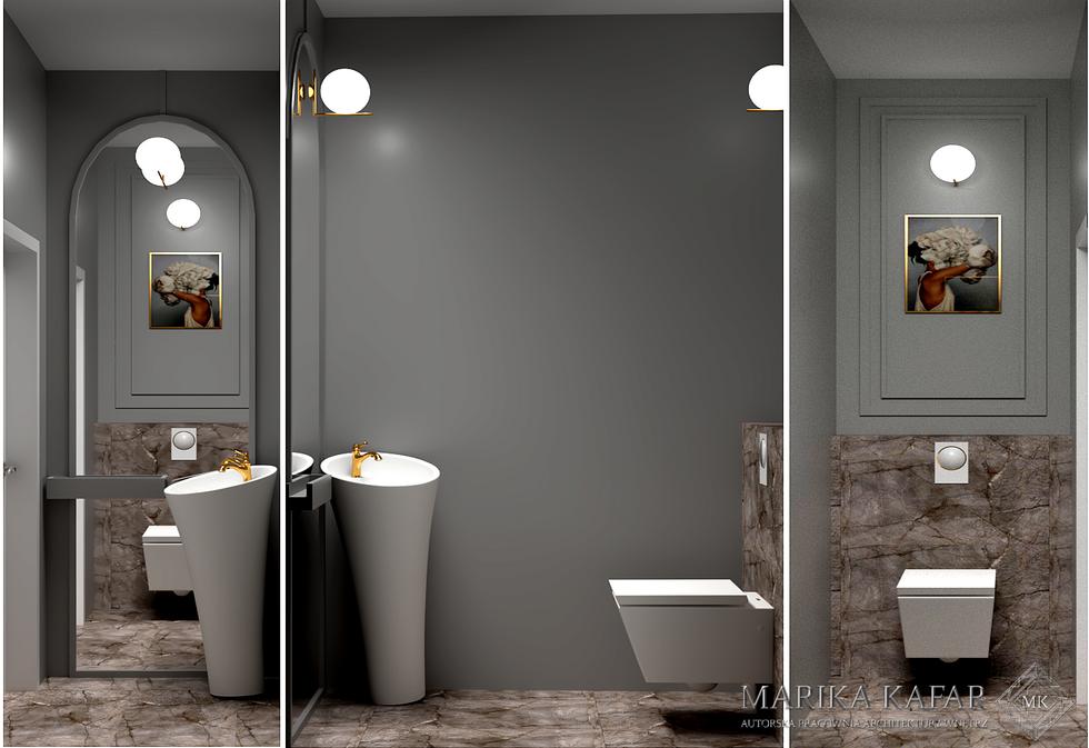 Marika Kafar. Projekt toalety, z wykorzystaniem ciemnej kolorystyki, głównie szarości.