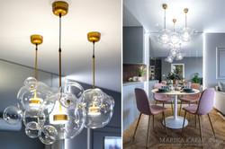 Marika Kafar. Jadalnia z designerskimi lampami.