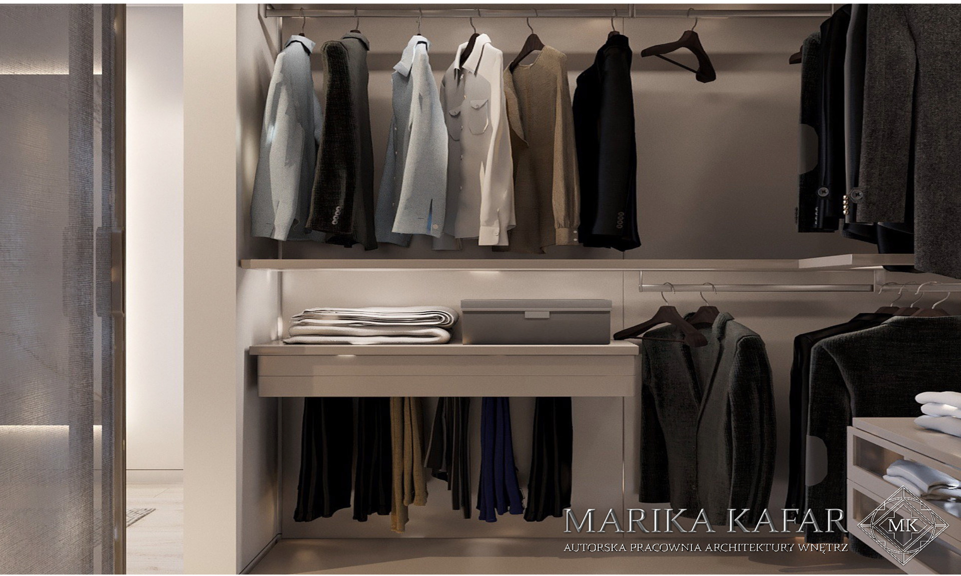 Marika Kafar. Projekt przestronnej garderoby.