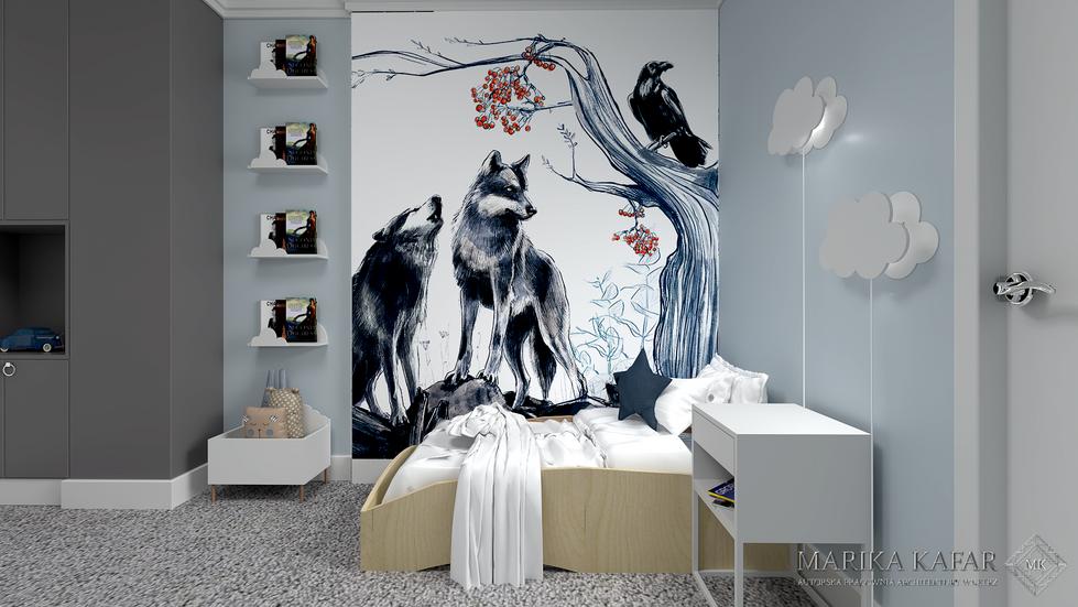 Marika Kafar. Błękitny pokój dziecięcy z tapetą nad łóżkiem.