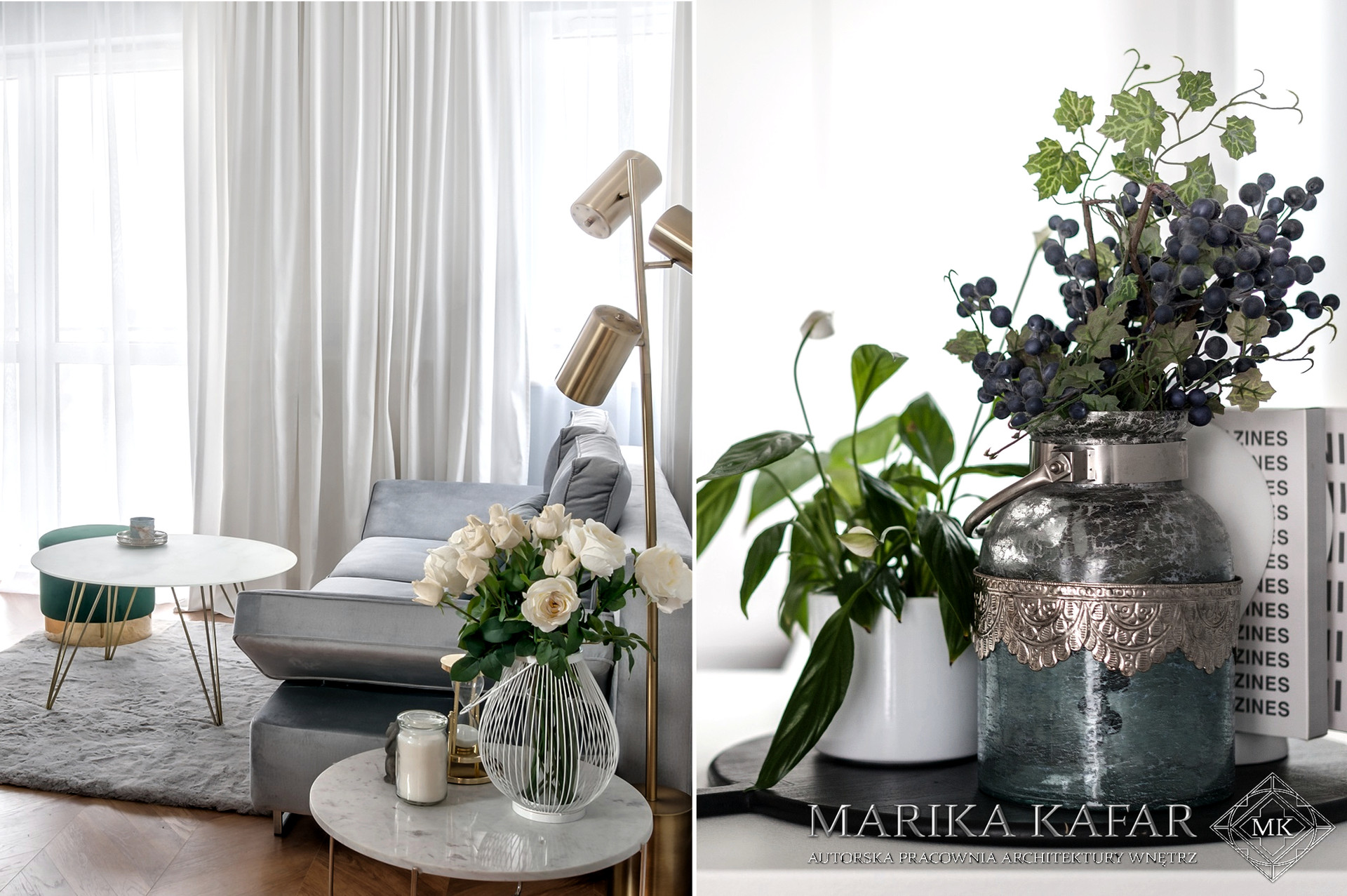 Marika Kafar. Projekt jasnego kobiecego salonu.