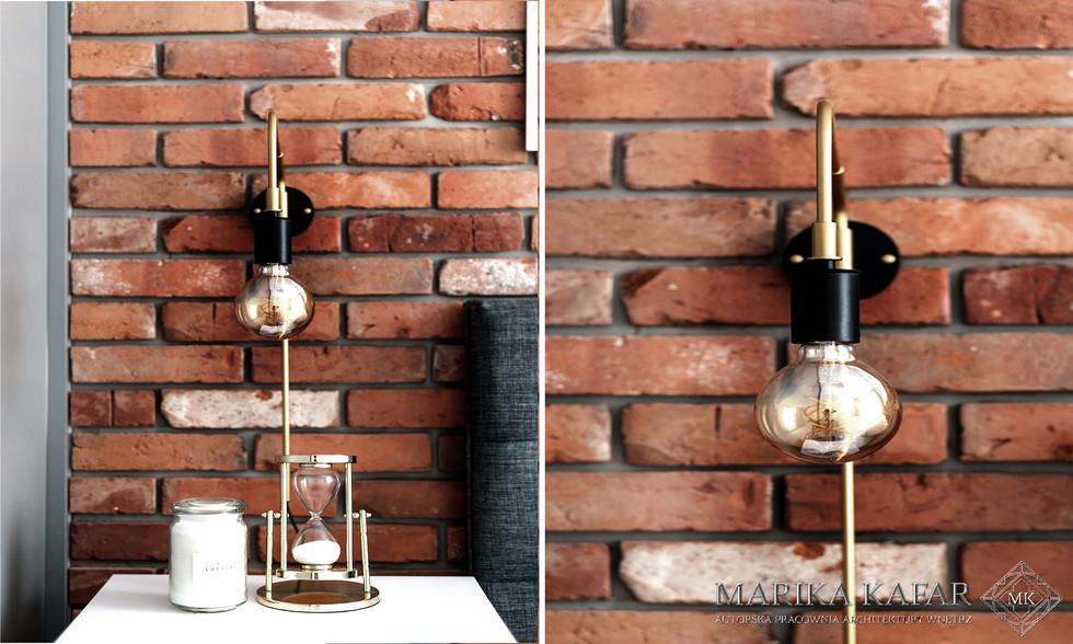 Marika Kafar. Loftowe lampy idealnie pasujące do czerwonej cegiełki.