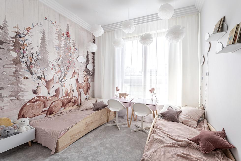 Marika Kafar. Dziecięcy pokój w pastelowych kolorach.