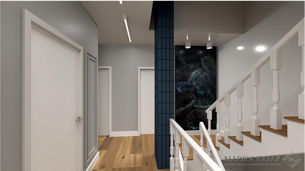 Marika Kafar. Połączenie szarnych ścian z ciepłą drewnianą podłogą.