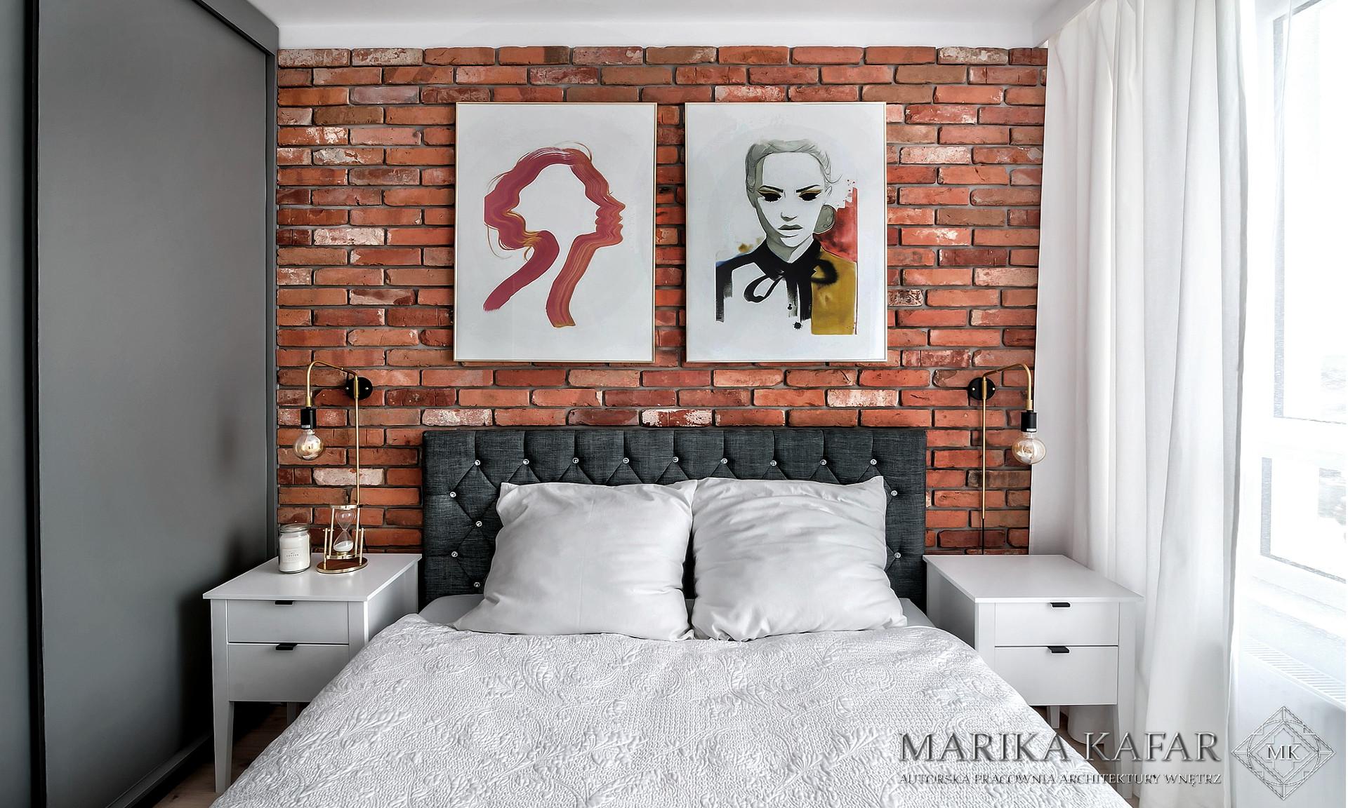 Marika Kafar. Sypialnia w stylu loftowym.