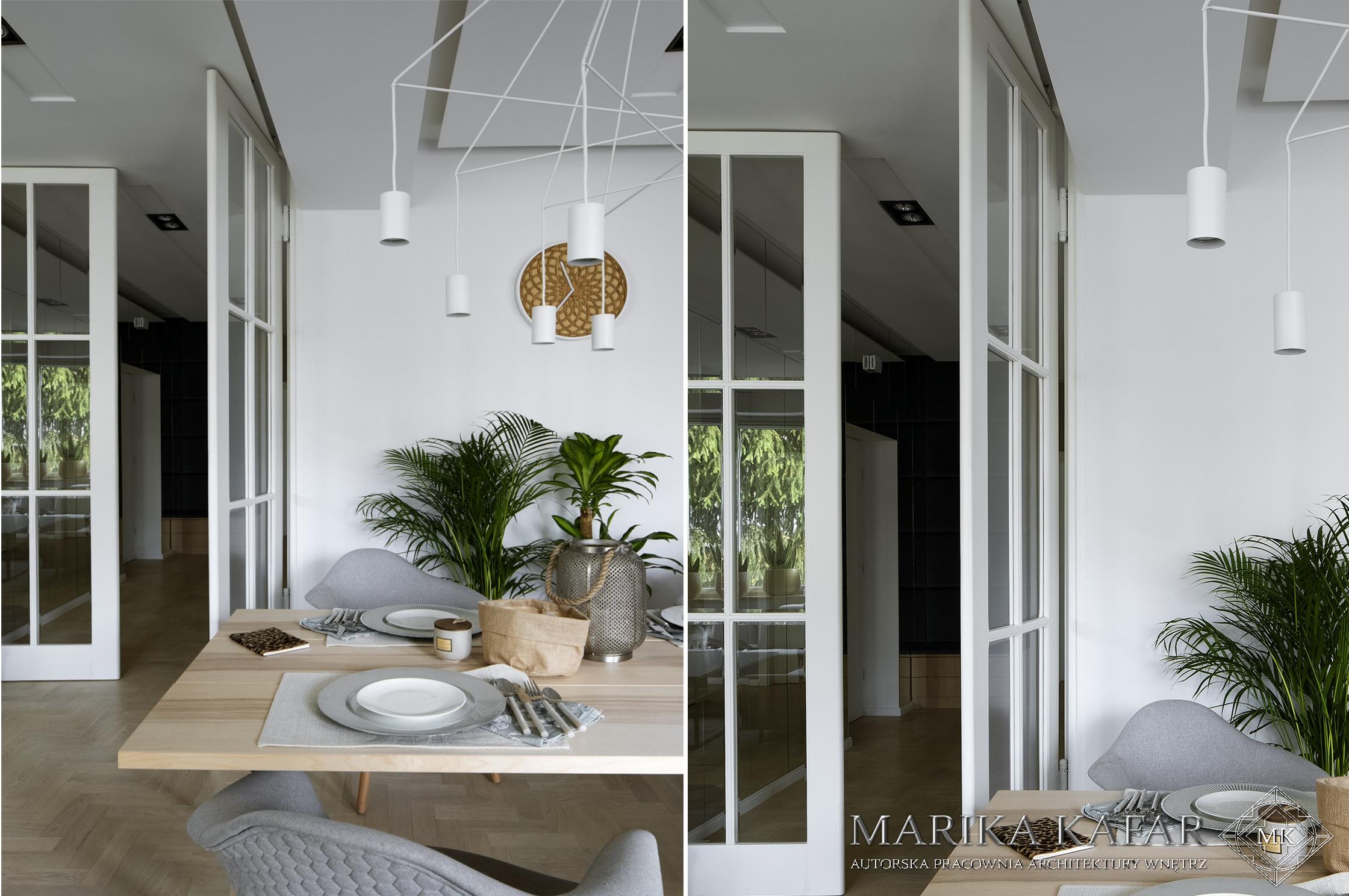 Marika Kafar. Białe przeszklone drzwi.