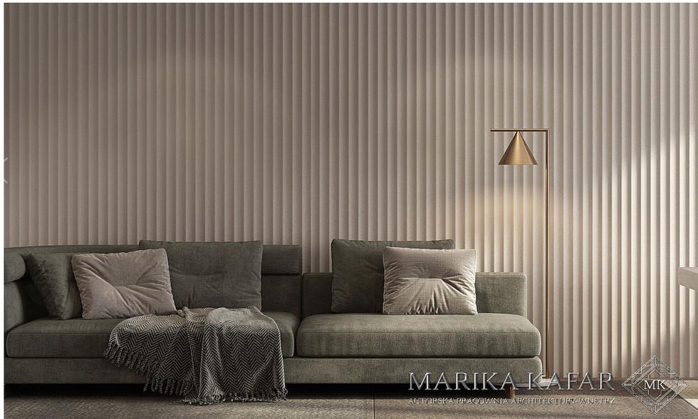 Marika Kafar. Projekt eleganckiego gabinetu z charakterystyczną ścianą.