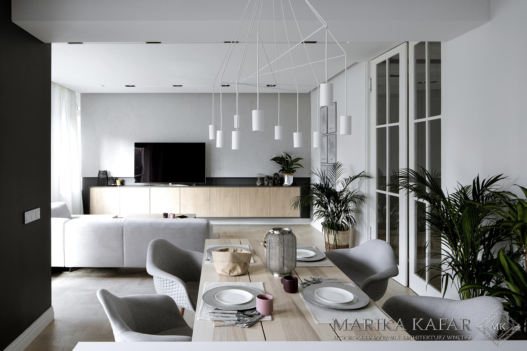Marika Kafar. Jadalnia z białą charakterystyczną lampą.