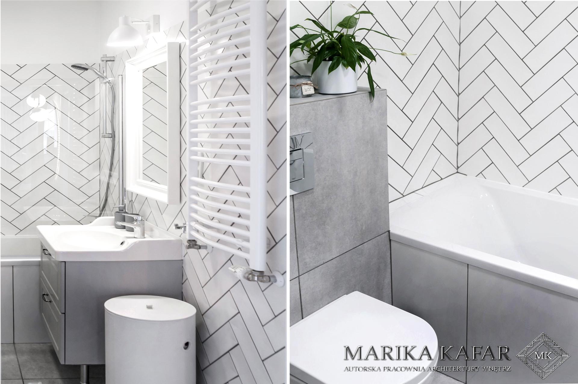 Marika Kafar. Projekt jasnej łazienki, z elementami szarości.