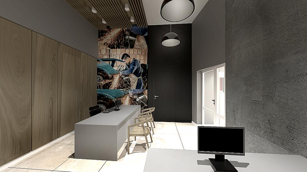 Marika Kafar. Przestrzeń biurowa z betonowa ścianą.