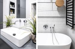 Marika Kafar. Projekt łazienki w odcieniach szarości.