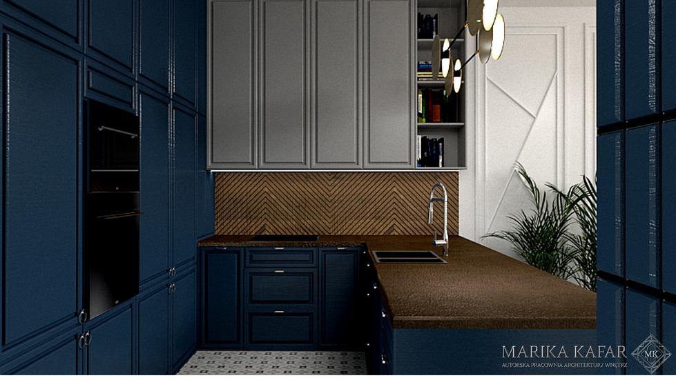 Marika Kafar. Niebieska kuchnia, połączona z drewnem.