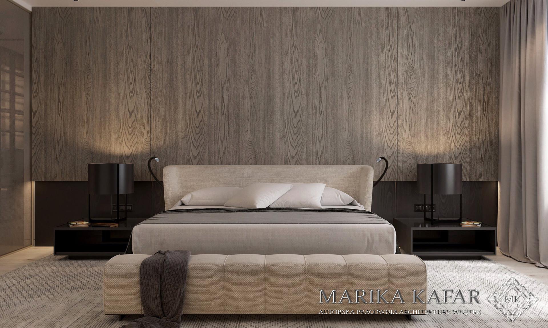 Marika Kafar. Projekt eleganckiej sypialni z drewnem na ścianie.