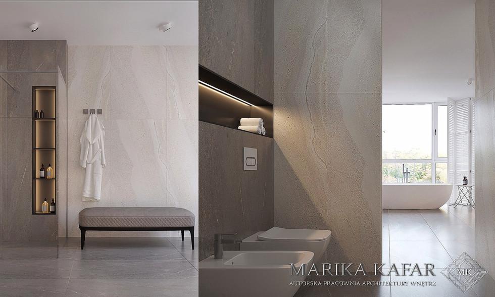 Marika Kafar. Projekt jasnej, nowoczesnej łazienki.