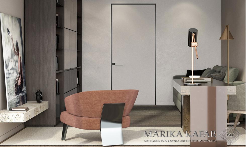 Marika Kafar. Projekt eleganckiego wnętrza z żywymi dodatkami.