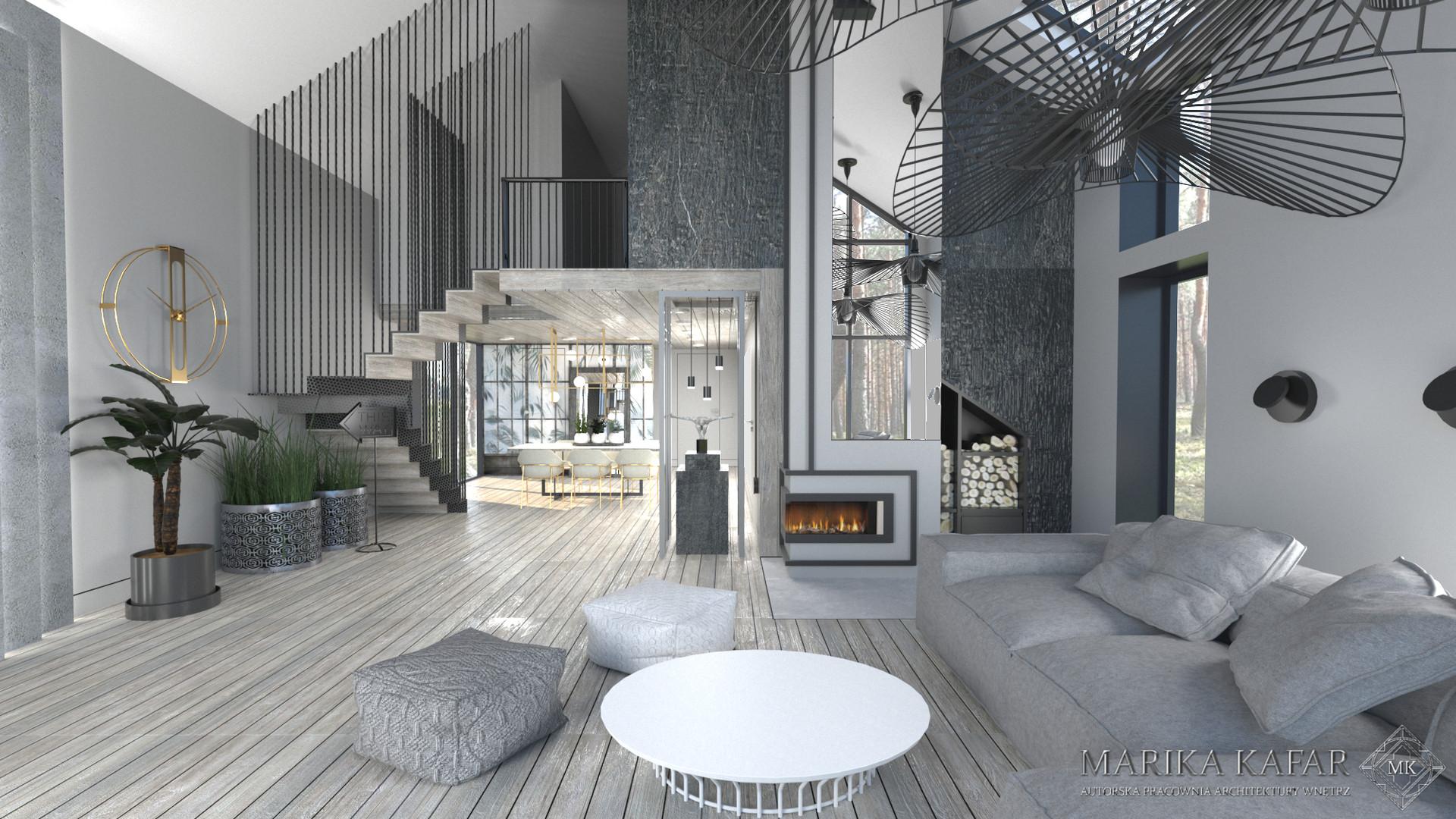 Projekt nowoczesnego salonu, w ciemnych tonach, z przewagą szarości.