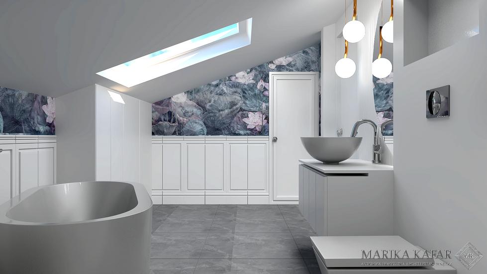 Marika Kafar. Aranżacja dużej łazienki z charakterystyczną wzorzystą tapetą.
