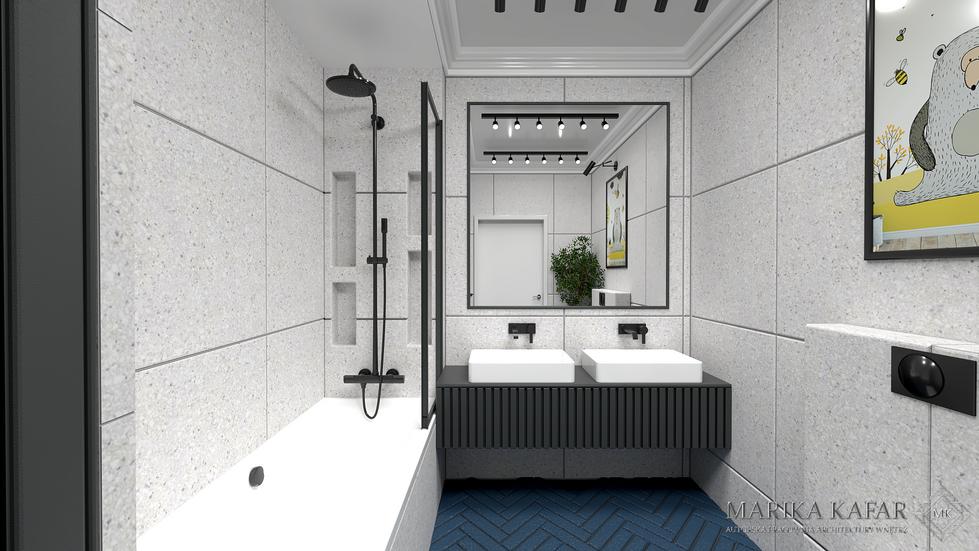 Marika Kafar. Projekt łazienki o ograniczonej palecie kolorów.