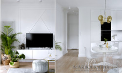 Marika Kafar. Połączenie białych ścian z ciepłą drewnianą podłogą.
