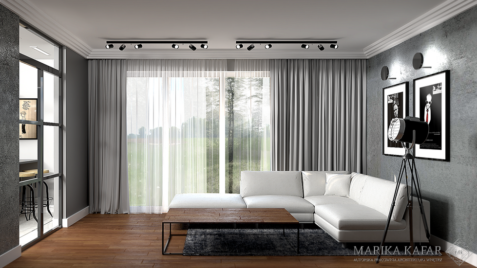 Marika Kafar. Męski salon z białą sofą.