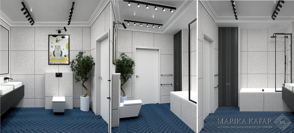 Marika Kafar. Projekt łazienki z niebieskimi kafelkami na podłodze.