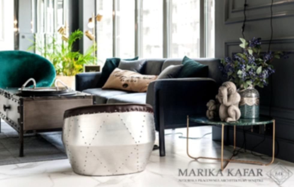 Marika Kafar projekt biura z elementami zgniłej zieleni