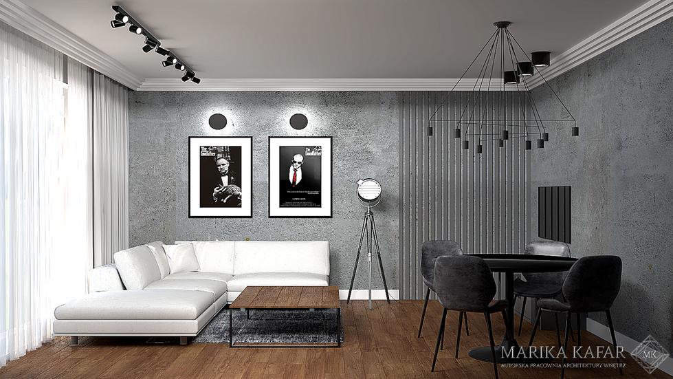 Marika Kafar. Industrialne wnętrze z lamelkami na ścianie.