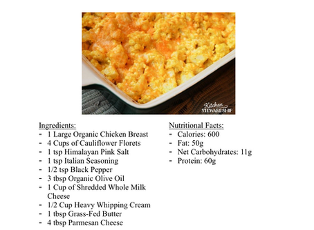 Ketogenic Spicy Chicken Cauliflower Macaroni N' Cheese