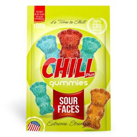 Chill Plus Gummies - CBD Infused Sour Faces [Edible Candy]