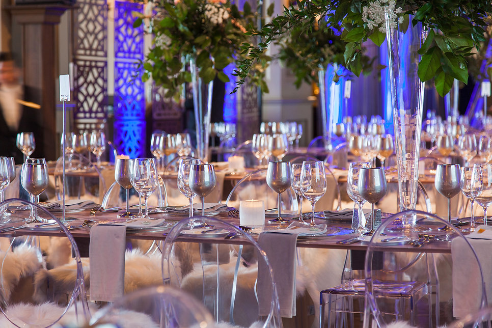Acrylic Table Silver Goblets for event rentals