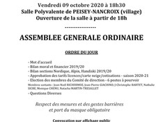 Convocation AG Automne 2020