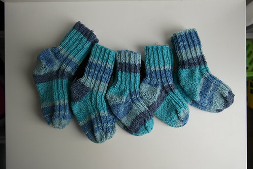 gebreide sokken lichtblauw multi