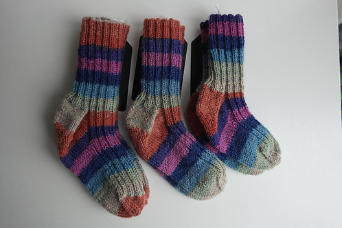 gebreide sokken paars/roze/blauw/oranje
